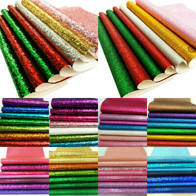 7pcs Pack Bundle Chunky Bling Glitter Vinyl Fabric Craft Material Faux Leather