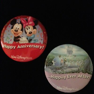 Walt Disney World Rare HAPPY ANNIVERSARY, HAPPILY EVER AFTER Button DISCONTINUED
