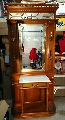 Hall Tree Vintage Victorian- raised panel-bevel/leaded mirrors-2 umbrella- clean