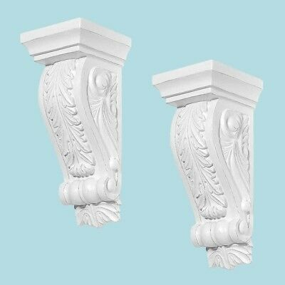 Set of 2 Fireplace Corbels In Steel Mold White Victorian Style Urethane Durable