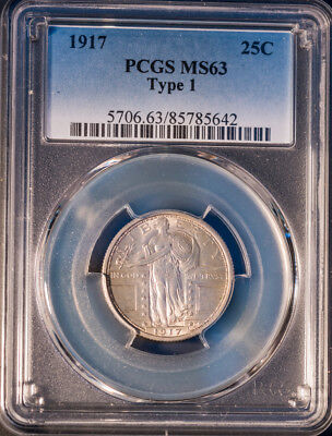 1917 25C T-1 1 Standing Liberty Silver Quarter Clean MS63 PCGS Rare Free S/H