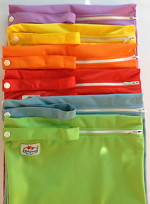 2 Nappy Zipper Wet Bags Baby Cloth Nappies Swimming Waterproof Zip Large