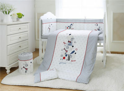 7pcs Baby Crib Bedding set Bumpers Quilt Pillow Cot Sheet Cotton AU003