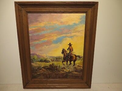 "20x16 org.1948 oil painting on canvas by Fred Harman of ""Our Hogans"" Western NM."