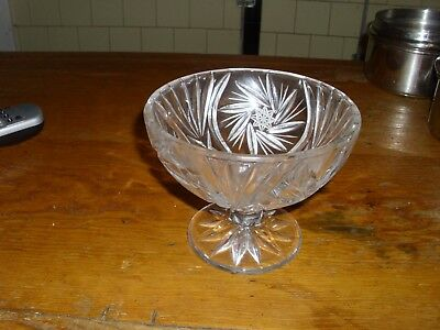 """Clear Cut Etched Crystal Pedestal Compote Dish Stars Fans, 6"""" x 5"""" High, Nice!"""