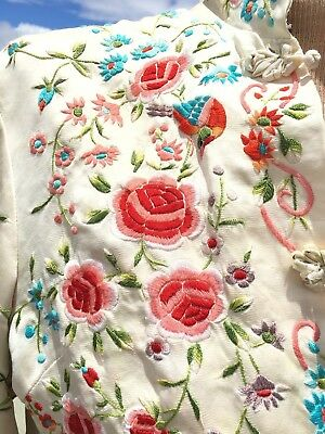 Vintage 1960s Chinese Embroidered Jacket Birds Florals Silk Plum Blossom VTG