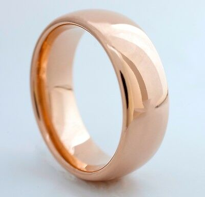 Tungsten Ring Wedding Band Rose Gold Men Women Comfort Fit 8MM Size 6 to 14