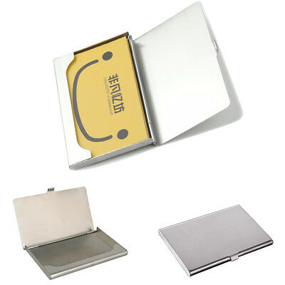 Luxury Stainless Card Holder Credit Coins Shut Pocket Wallet ID Storage Case