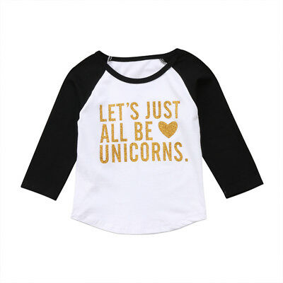 Toddler Kid Baby Girl Boy Long Sleeve Unicorn T-shirt Top Tees Sweatshirt Blouse