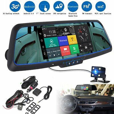 7'' 3G 1080P Car DVR GPS Android 5.0 Dual Lens Rearview Mirror Monitor Camera