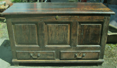 Antique Oak Coffer / Chest. Blanket Box. Mule chest.