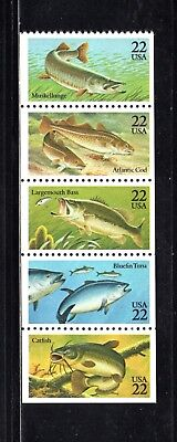 USA 1986 Fish strip of 5 SG 2216/20 MUH