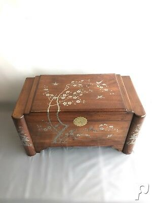 Large Chinese Antique Wooden Travelers Trunk With Silver Inlay