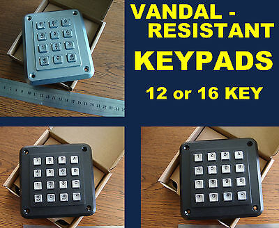 Storm anti-Vandal keypad, Choice of 12 or 16 keys, use in door entry systems etc
