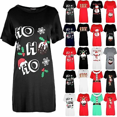 Womens Ladies Round Neck Ho Ho Ho Pudding Christmas Oversized T Shirt Mini Dress