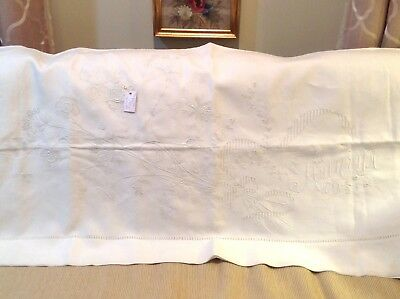 superb ecru embroidered monogramed linen bed sheet France 110 x 108