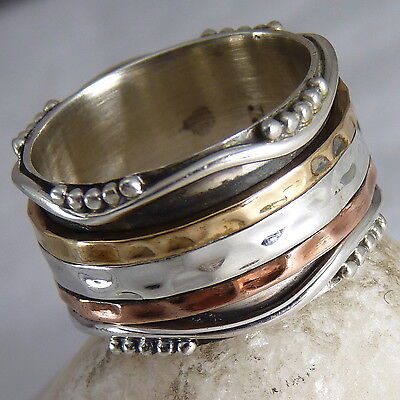 GRANULATED WAVE Size 6.75 SilverSari 3 SPIN SPINNER Fidget Ring Solid 925 Silver