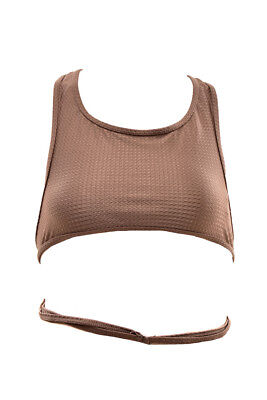 One Teaspoon Women's Downtown Textured Bikini Top Brown Size S RRP$68 BCF711