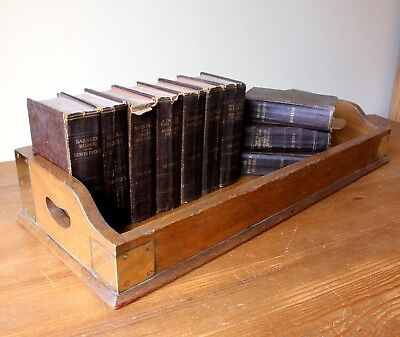 Victorian Oak & Brass Library Book Tray. Wood Carrier Trough 19th Century Drinks