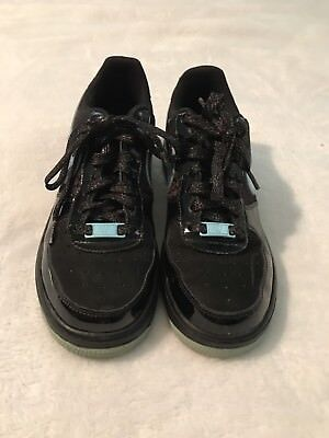 Nike Air Force 1 Black/Teal Low Top Sparkle Laces Girls Sneakers Size 6Y