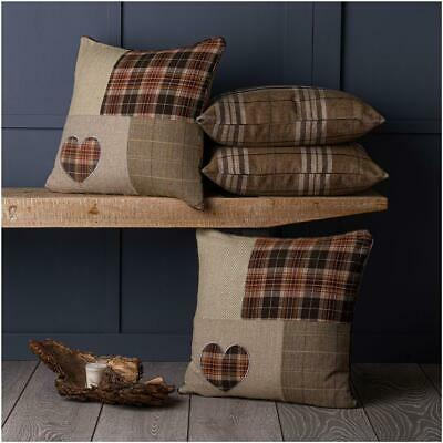 "Set of 4 Tartan & Dog, Owl or Heart Brown Beige Collections 18"" Cushion Covers"