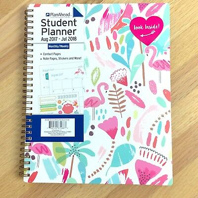 """Plan Ahead Student Planner Full Size to Aug 2018 Flamingos 8.5"""" x 10"""" Cute"""