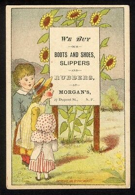 Boots Shoes SAN FRANCISCO Victorian Trade Card Morgan's Dupont St SUNFLOWERS