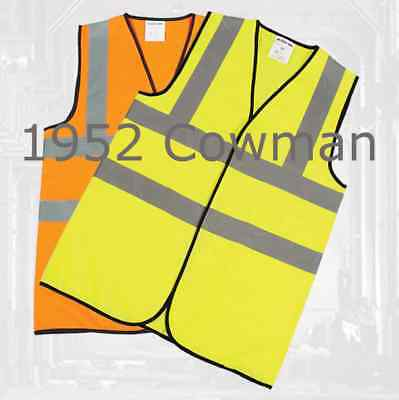 Hi-Viz Vest Orange / Yellow Waistcoat En471 Standard Safety Wear Uk Seller
