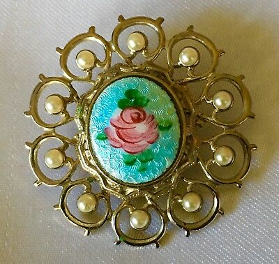 Vtg Antique Ornate Turquoise Blue Enamel Pink Rose Guilloche Pearl Brooch Pin