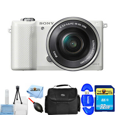 Sony Alpha a5000 Mirrorless Digital Camera with 16-50mm Lens (White) STARTER KIT