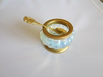 Opalescent glass gilded salt-cellar with spoon