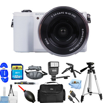 Sony Alpha a5000 Mirrorless Digital Camera with 16-50mm Lens (White) PRO BUNDLE