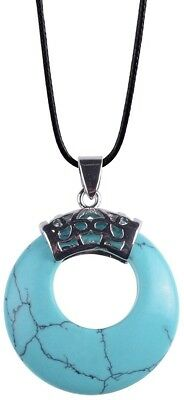 Crescent Moon Leather Rope Lucky Gemstone Pendant Chain Stone Necklace Turquoise