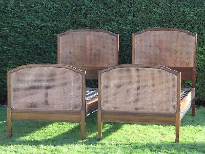 Stunning Pair of Mahogany & Cane Single Beds By Heals Heal & Son Spring Bases