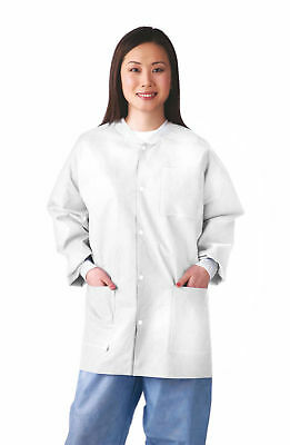 Case of 30 Medline Disposable Multi-Layer Lab Jacket, White (Size S-XL)! S3