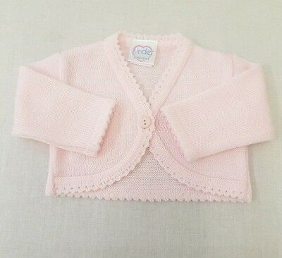 NEW KINDER BOUTIQUE BOLERO / CARDIGAN PINK NEWBORN 0-3 month