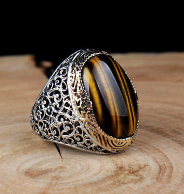 925 STERLING SILVER Handmade REAL Tiger's Eye Stone Turkish Ottoman Man Ring