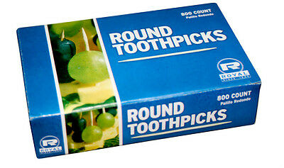 1600 Count Royal Round Wood Wooden Toothpicks (2 boxes of 800)