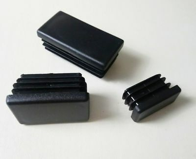 Rectangular End Caps Plastic Inserts Blanking Ribbed Plugs / Black