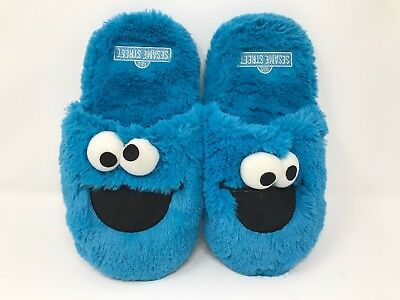 New! Adult Sesame Street 3D Cookie Monster Slippers O31
