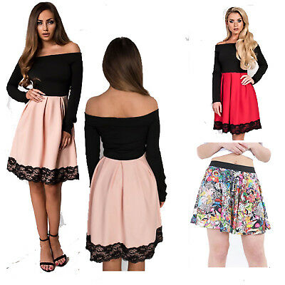 New Womens Caitlin Off Shoulder Bardot Contrast skirt Party Skater Ladies Dress