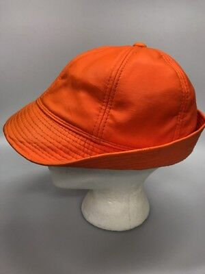 Vintage Hunting Jones Style Hat Vinyl Orange Adult Large Earflaps