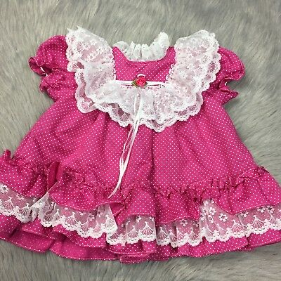 Vintage Baby Toddler Girls Bright Pink White Lace Ruffle Polka Dot Frilly Dress