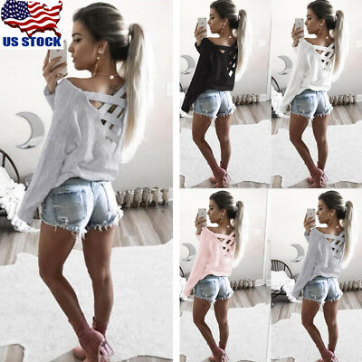 Womens V Neck Long Sleeve Lace Up Cross Bandage T-shirt Top Blouse Casual Tee US