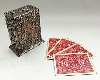 Vtg Victorian Meiji Period Silver Plate Bamboo Mt Fuji Playing Card Case & Cards
