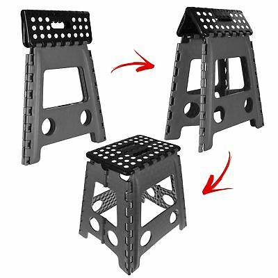Black Large Folding Stool Step Multi Purpose Kitchen Home Diy Heavy Duty Plastic