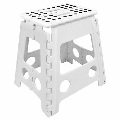 White Large Folding Stool Step Multi Purpose Kitchen Home Diy Heavy Duty Plastic
