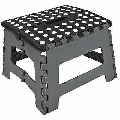 Black Medium Folding Stool Step Multi Purpose Kitchen Home Di Heavy Duty Plastic