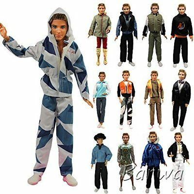 Lot 5 Sets Fashion Long Sleeve Shirt Outfit Clothes w/ Pants for Barbie Ken Doll