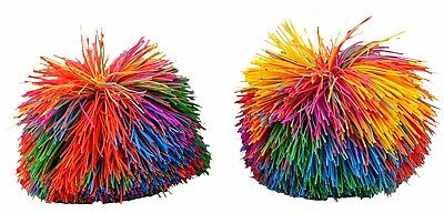 2 x STRING BALL kids play party favour fun gift present rainbow filler pom pom